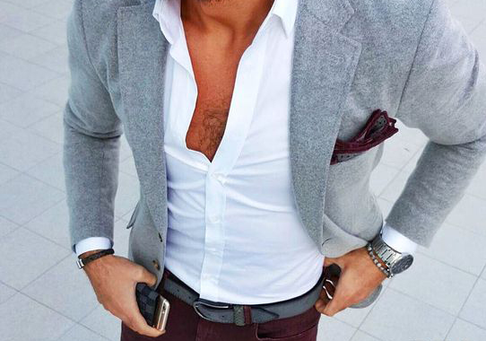 Mens summer style: Grey blazer jacket, white shirt, dark maroon trouser