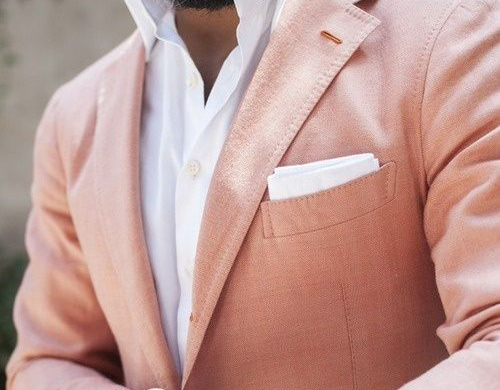 Mens summer style: Pink linen blazer jacket, white shirt