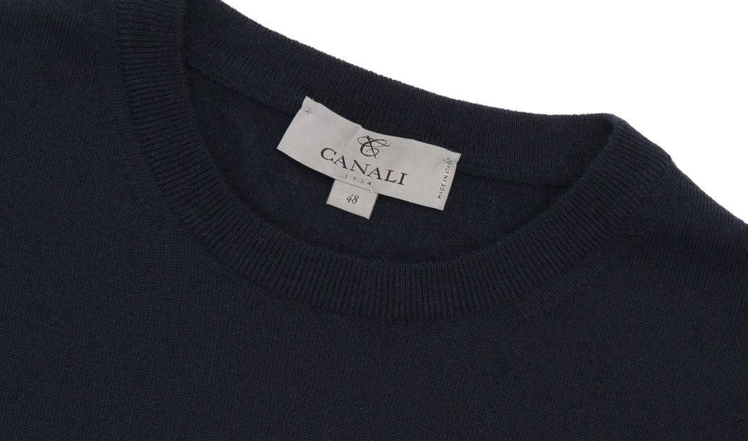Canali Navy Blue Cashmere Crewneck Sweater