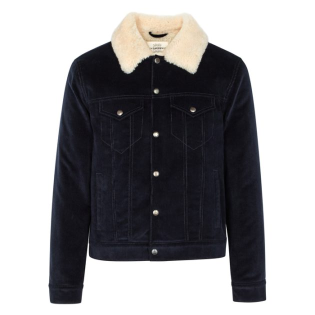 Kent & Curwen Navy Shearling-lined Corduroy Jacket