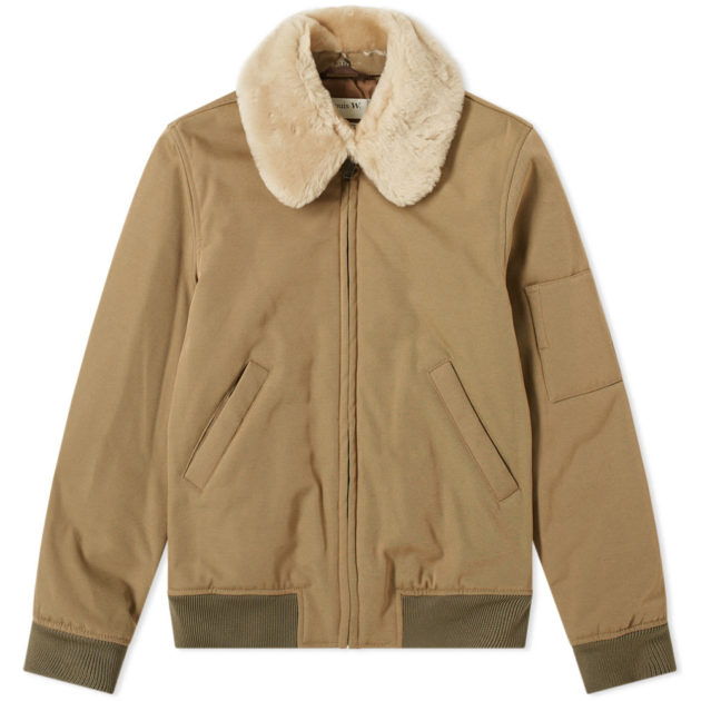 A.P.C. Louis W. Alpha Shearling Collar Jacket Dark Beige