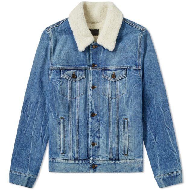 Saint Laurent Shearling Denim Jacket Blue