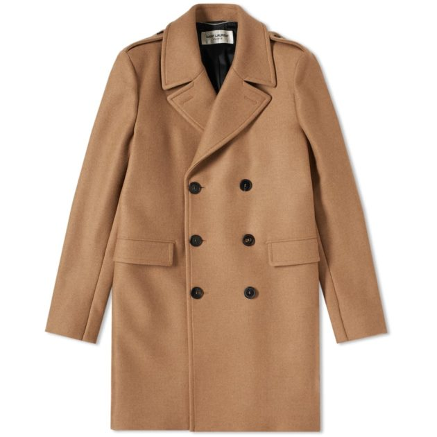 Saint Laurent Double Breasted Coat Camel