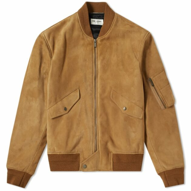 Saint Laurent Suede Bomber Jacket Tobacco