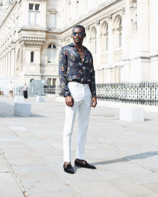 hawaiian shirt with tailored trousers