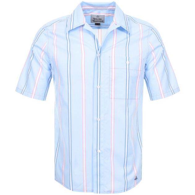 Vivienne Westwood Short Sleeve Fez Shirt Blue – vertical stripe shirts